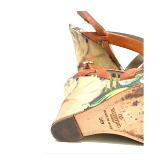 Valentino Shoes - Valentino Leather Strap Green Floral Wedges